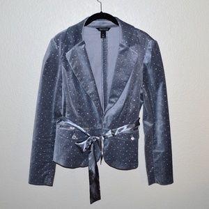 WHBM Silver Velvet Blazer with Rhinestones